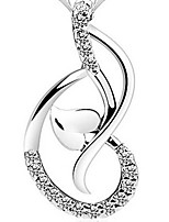 925 Silver Hearts Note Rhinestoe Pendant Necklace