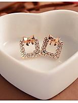 A Square Set Auger Sparkling Diamonds Bowknot Earrings