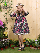 KAMIWA ®  Teenage Girl's Spring/Summer Flowers Printed Princess Party Dresses Knee-length Children Clothing Kids Clothes