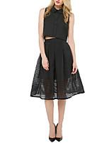 Women's Cute Black Plaid Mesh See-through High Waist Ball Gown Midi Skirt