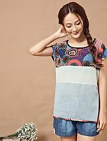 Women's Character Blue/Pink T-shirt , Round Neck Short Sleeve