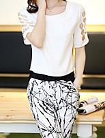 Women's Print/Solid White Blouse , Round Neck Short Sleeve Hole