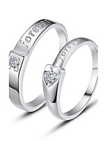 Couples' Sterling Silver Ring With Cubic Zirconia
