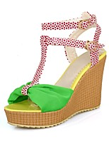Women's Shoes Fabric Wedge Heel/Open Toe/Platform/Ankle Strap/ Sandals Dress Burgundy/Yellow