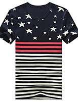 Men's Fashion Stripe Print Slim Short Sleeved T-Shirt