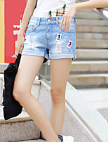 Women's Casual/Bodycon/Sexy/Lovely Holes Frilly Embroidery Short Jean Pants (Cotton / Demin)