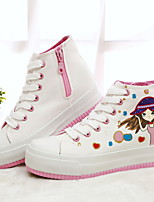 Scarpe Donna Tessuto Plateau Comoda/Punta arrotondata Sneakers alla moda Formale/Casual Verde/Bianco