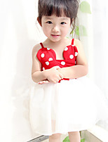 Girl's Summer Polka-dots Mesh Stitching Camisole Dresses (Cotton Blends/Mesh)