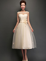 Tea-length Tulle Bridesmaid Dress - Champagne A-line Jewel