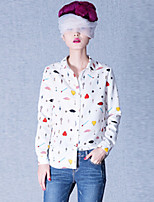 Women's Vintage Casual Print Plus Sizes Inelastic Long Sleeve Long Shirt (Polyester)