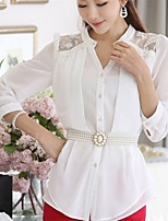 Women's Solid White Blouse , Shirt Collar ¾ Sleeve Beaded