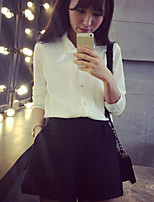 Women's Solid Pink/White/Black Shirt , Shirt Collar Long Sleeve