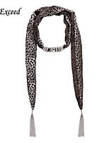 D Exceed  Women Elegant Chocolate Round Dot Pattern Chiffon Scarves with Pendant Silver Tassel Jewelry Scarfs