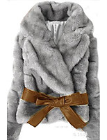 Women Rabbit Fur/Faux Fur Outerwear/Top , Belt Included