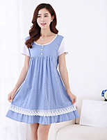 Maternity Sweet Lace Round Collar Patchwork Polka-dots Dress