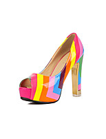 Women's Shoes Patent Leather Cone Heel Heels/Peep Toe Pumps/Heels Office & Career/Casual Neutral