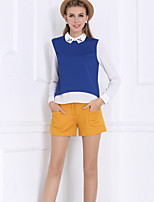 Women's Patchwork Blue/Orange Shirt , Shirt Collar Long Sleeve