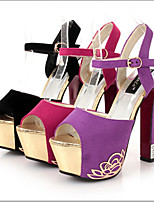 Women's Shoes Velvet Stiletto Heel Heels Sandals Party & Evening/Casual Black/Purple/Red