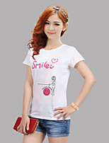 Women's Sexy Casual Print Cute Inelastic Short Sleeve Regular T-shirt (Nylon)