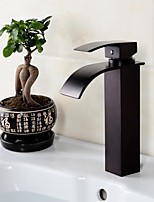 Bathroom Deck Mounted Oil-rubbed Bronze Waterfall Black Washbasin Faucet