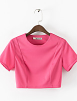 Women's Solid Red Blouse , Round Neck Short Sleeve Backless