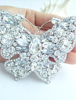 Women Accessories Silver-tone Clear Rhinestone Crystal Bridal Brooch Wedding Deco Butterfly Brooch Bouquet Women Jewelry