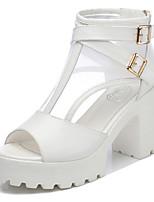 Women's Shoes Tulle Chunky Heel Heels/Platform Sandals Dress Black/White
