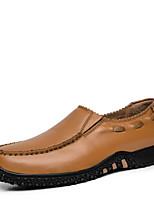 Для мужчин Мокасины и Свитер Удобная обувь Весна Осень Наппа Leather Повседневные На низком каблуке Черный Желтый Коричневый