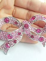 Women Accessories Silver-tone Pink Rhinestone Crystal Bowknot Brooch Art Deco Crystal Brooch Bouquet Women Jewelry