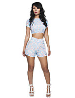 Women's Casual/Print Micro-elastic Short Sleeve Short T-shirt (Polyester)