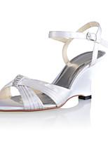 Women's Shoes Silk Stiletto Heel Heels/Peep Toe Sandals Wedding/Party & Evening White/Beige