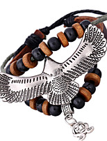 Women's Casual Leather Bracelet Beaded Bracelet Eagle Pendant Bracelet PS0192