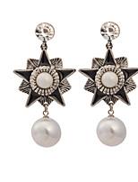 Women's Vintage Classic Five-Pointed Star Pearl Pendant Stud Earrings HJ0014