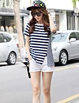 Women's Striped Blue T-shirt , Round Neck Short Sleeve