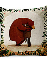Cartoon Bear Love Patterned Cotton/Linen Decorative Pillow Cover