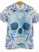European Style TEE Digital Printing 3D T-shirt Crystal Skeleton Harajuku Sleeved T-shirt