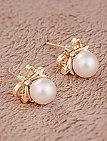 Big Shining Pearl Bow Earrings Fashion Personality