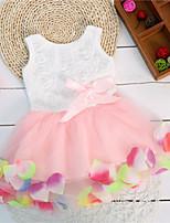 Kids Girls Sleeveless Rose Petal Hem Ball Gown Dresses (Cotton Blends)