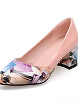 Women's Shoes Patent Leather Chunky Heel Heels/Pointed Toe Pumps/Heels Dress Pink/Purple/Beige