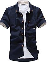 Men's Casual/Work/Formal Print Short Sleeve Regular Shirt (Cotton Blend)