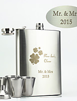 Personalized Stainless Steel Flasks 8-oz Flask Four lucky clover