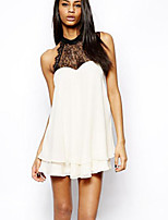 Women's Lace White Blouse , Crew Neck Sleeveless Lace