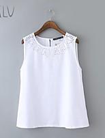 Women's Openwork Embroidery Casual Micro-elastic Sleeveless Regular Vest (Cotton Blends)