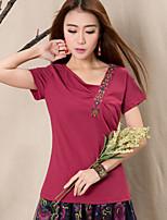Women's Character Red T-shirt , Round Neck Short Sleeve Flower