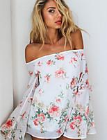 Women's Sexy Print Plus Sizes Inelastic Long Sleeve Regular Blouse (Chiffon)