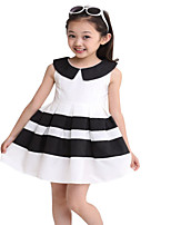 Kids Girls Wide Stripe Skirt Sleeveless Doll Collar Summer Party Dresses (Cotton Blends)