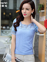 Women's Solid Blue/White/Yellow Blouse , Round Neck Short Sleeve Hollow Out