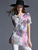 Large size women 2015 new summer new personality thin irregular hem shirt T-shirt Women's CLOTHING
