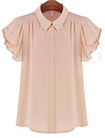 Women's Pink/White Blouse , Cute/Work Short Sleeve
