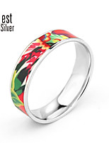 The Colored Enamel Sterling Silver Plated Platinum Ring Flower Color Ring Jewelry Series(Nature Spirit) FLR6008